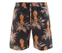 Marginata Bird-print Cotton-poplin Pyjama Shorts