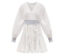 Olivia Belted V-neck Cotton Mini Dress