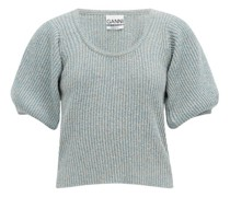 Puffed-sleeve Linen-blend Rib-knitted Top