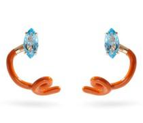Tendril Crawler Topaz, 9kt Gold & Enamel Earrings