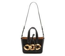 Chain-embellished Leather Tote Bag