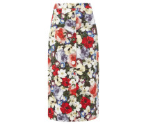Gainor Floral-print Button-down Cotton-blend Skirt