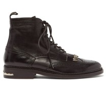 Tasselled Lace-up Leather Boots