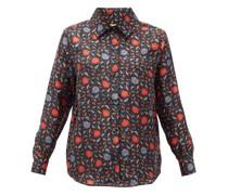 Fern Floral-print Silk-faille Shirt