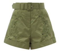 High-rise Embroidered Cotton Shorts