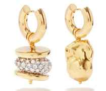 Mismatched Crystal & Gold-plated Hoop Earrings