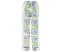 Floral-print Silk-satin Twill Trousers