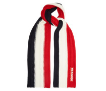 Tricolour Ribbed-knit Wool Scarf