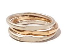 Spliced Set Of Three Silver & 14kt Gold Rings