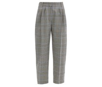 Cropped Prince Of Wales-check Wool Suit Trousers