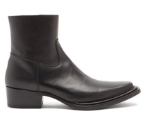 Cuban-heel Leather Ankle Boots