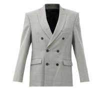 Houndstooth-check Merino-wool Twill Blazer