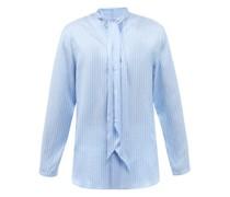 Striped Scarf-neck Silk-poplin Shirt