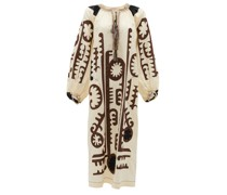 Mombasa Embroidered Tie-neck Linen Dress