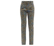 Leopard-print Cotton-blend Trousers