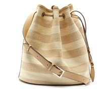 Striped Fique And Leather Bucket Bag