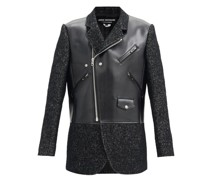Faux-leather And Tweed Jacket