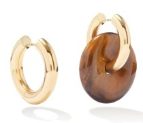 Mismatched Tiger's Eye & Gold-plated Hoop Earrings