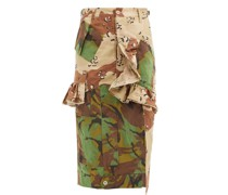 Floral Upcycled Camouflage Cotton-blend Midi Skirt