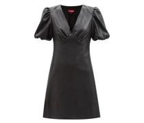 Milla Puff-sleeve Faux-leather Mini Dress