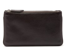 Larger Things Zipped Linen And Leather Pouch