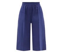 Tan Linen-blend Twill Shorts