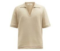 Open-collar Linen Polo Shirt