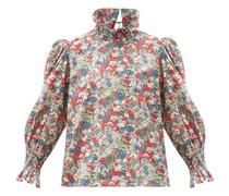 Collia Smocked Floral-print Cotton Top