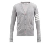 Four-bar V-neck Merino Wool Cardigan