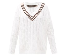 Monili-chain V-neck Cable-knit Sweater