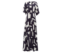 Open-back Geometric-print Crepe Maxi Dress