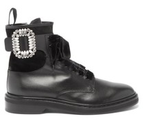 Rangers Crystal-embellished Leather Ankle Boots