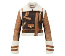 Cropped Shearling Aviator Jacket