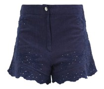 Floral-embroidered Cotton Shorts