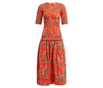 Zola Shirred Floral-print Cotton Midi Dress