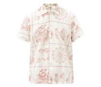 Edwardian Redwork Embroidered Linen-blend Shirt