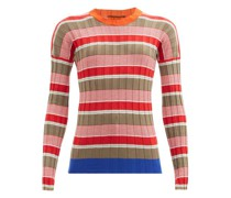 Striped Cotton-blend Ribbed Sweater