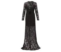 Plunge-neck Chantilly-lace Maxi Dress