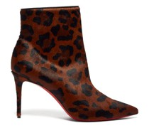 So Kate 85 Leopard-print Calf-hair Leather Boots