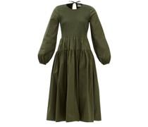 Zari Shirred Cotton-blend Midi Dress