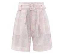 The Talia Gingham Cotton-blend Wide-leg Shorts