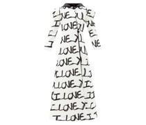 I Love You-appliqué Cotton-blend Longline Coat