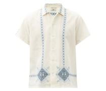 Twin Bird Mosaic Linen-blend Shirt