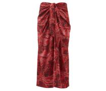 Snake-print Silk-blend Satin Midi Skirt
