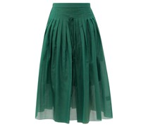Pleated Cotton-blend Voile Midi Skirt