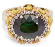 Eternity Flower Diamond, Sapphire & 18kt Gold Ring