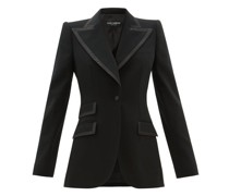 Single-breasted Faille-trimmed Wool-blend Blazer