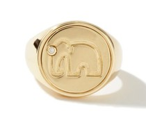 Diamond & 9kt Gold Elephant Signet Ring