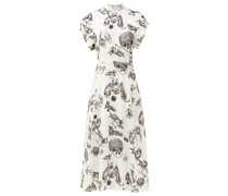 Roll-sleeve Kitten-print Silk Midi Dress