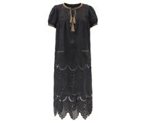 Veronica Tassel-neck Embroidered Linen Midi Dress